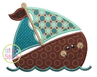 """SailAway Boat Applique Design For Machine Embroidery (""""As the Deer"""" font is NOT included) INSTANT DOWNLOAD now available"""