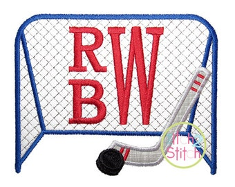 "Hockey Goal Applique Design In Sizes 4x4, 5x7, & 6x10 shown with ""Stacked Serif"" Font NOT Included INSTANT DOWNLOAD now available"