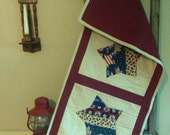 "Quilted Patriotic Americana Table Runner  43"" x 19""  Reversible"