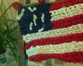 "American Flag  13"" x 10""  Red White & Blue  Crocheted"