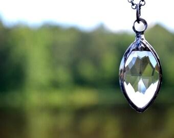 Glass Prism Necklace, Crystal Prism Pendant, Crystal Glass Prism, Crystal Necklace, Handmade Necklace, Crystal Prism Necklace (2338)