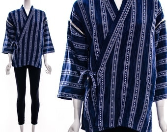 Vintage 70s Royal Blue White Wrap Kimono with Lattice Cutout Shoulders Braided Boho Chic Bohemian Kimono Cotton Duster Small Medium