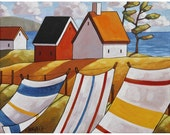 "Art Print by Cathy Horvath 5""x7"" Folk Art Giclee, Summer Breeze Coastal Cottages Seascape, Laundry Wind Ocean Archival Artwork Reproduction"