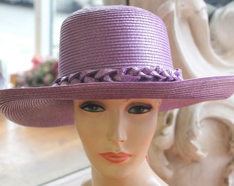 Vintage Frank Olive Wide Brimmed Purple Straw Hat NOS New Old Stock