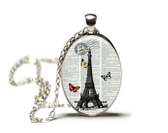 Eiffle Tower with Butterflies Jewelry Hamilton House Prints Original Print Necklace Dictionary Prints Dictionary Necklace