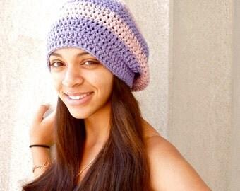 Slouchy Hat, Women, Men, Teen, Lavender, Rose, Purple, Tam,