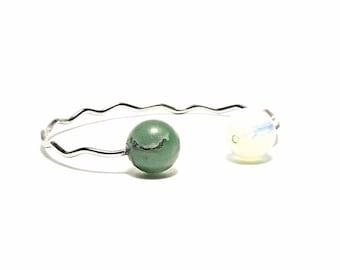 Stone Bracelet, Sterling Steel Bracelet with Jade and Moonstone Stone, Adjustable Bracelet, Brass, Metal