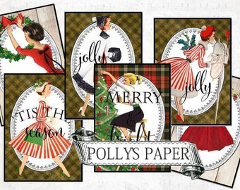 Retro Ladies Christmas Tags Digital Collage Sheet printable download file 9 images