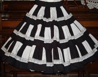 Black and white square dance skirt