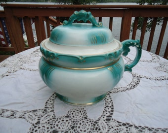 Vintage Turquoise & White Chamber Pot and Lid
