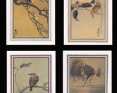 4 Blank Note Cards of Small Birds by Koson gcbs002