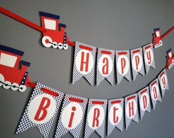 Boys Birthday Banner, Train Birthday Decorations, Train banner, Blue White Red