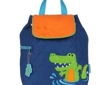 SHIPS NEXT DAY--Personalized Monogrammed --New Pattern-- Stephen Joseph Kid Quilted Alligator Backpack--Free Monogramming--