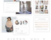 INSTANT DOWNLOAD  Gifted Set of 3 Gift Certicate Templates vol 3
