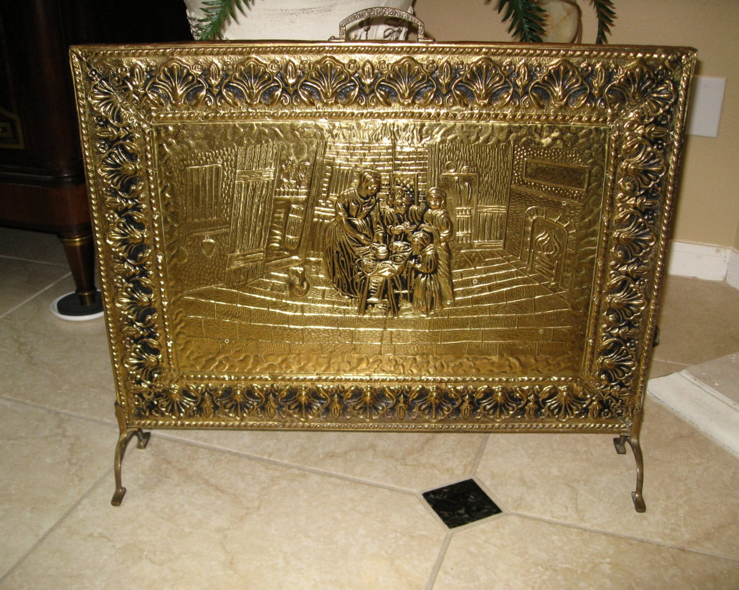 Antique European Hammered Amp Embossed Brass Fireplace Screen