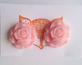 Large Pink Rose Post Gold Earrings