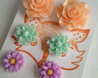 Pastel Rose Chrysanthemum Daisy Flower Post Earring Set, three pair set of flower studs