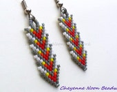 Native American Beaded Earrings - Brick Stitch - Arrows - Rainbow Grey Sunset