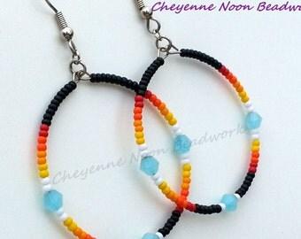 Native American Beaded Earrings - Hoop Earrings - Silky Sky Blue