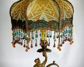 Art Deco Antique Griffin Lamp - Victorian Metallic Lampshade - Hand Beaded