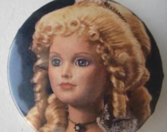 "Vintage Badge,  Antique Victorian Doll, Round Metal Pin, 2 1/4"""