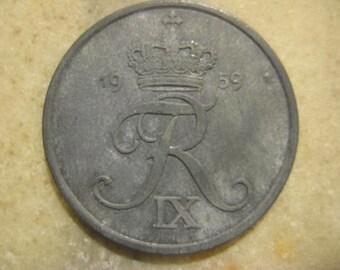 Vintage 1959 Denmark, Zinc  5 Øre Coin - Frederik IX