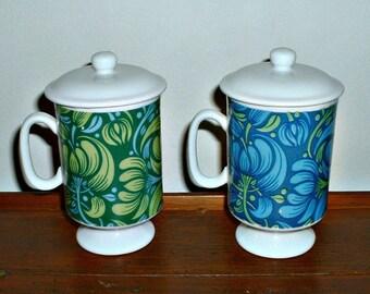 Vintage Mugs Floral Blue Green Coffee Cups Flower Power Groovy Lot of 2 Arnat Japan