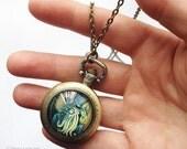 Dapper Cthulhu Pocket Watch Necklace - HP Lovecraft Art Jewelry - Arkham Horror