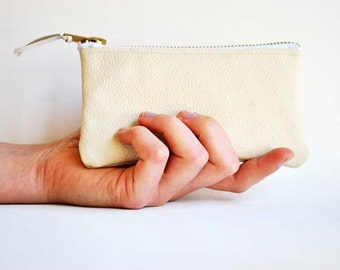 Small Leather Clutch Bag, Leather Coin Pouch or Purse