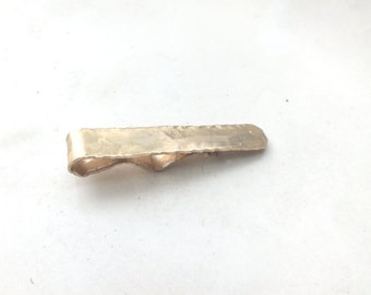 Bright Red Brass Tie Clip with Heavy Texture and Pleated Edging