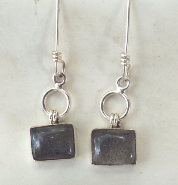 Labradorite and Sterling Silver Circle  Drop Earrings