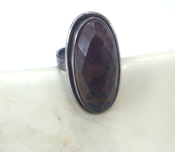 Bloodstone and Sterling Silver Ring----Size 8