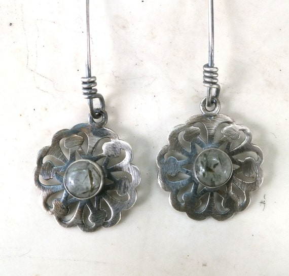 Tourmalated Quartz and Sterling Silver Flower Dangle Earrings