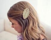 Mint Leaf // Wood Hair Clip // Laser Cut
