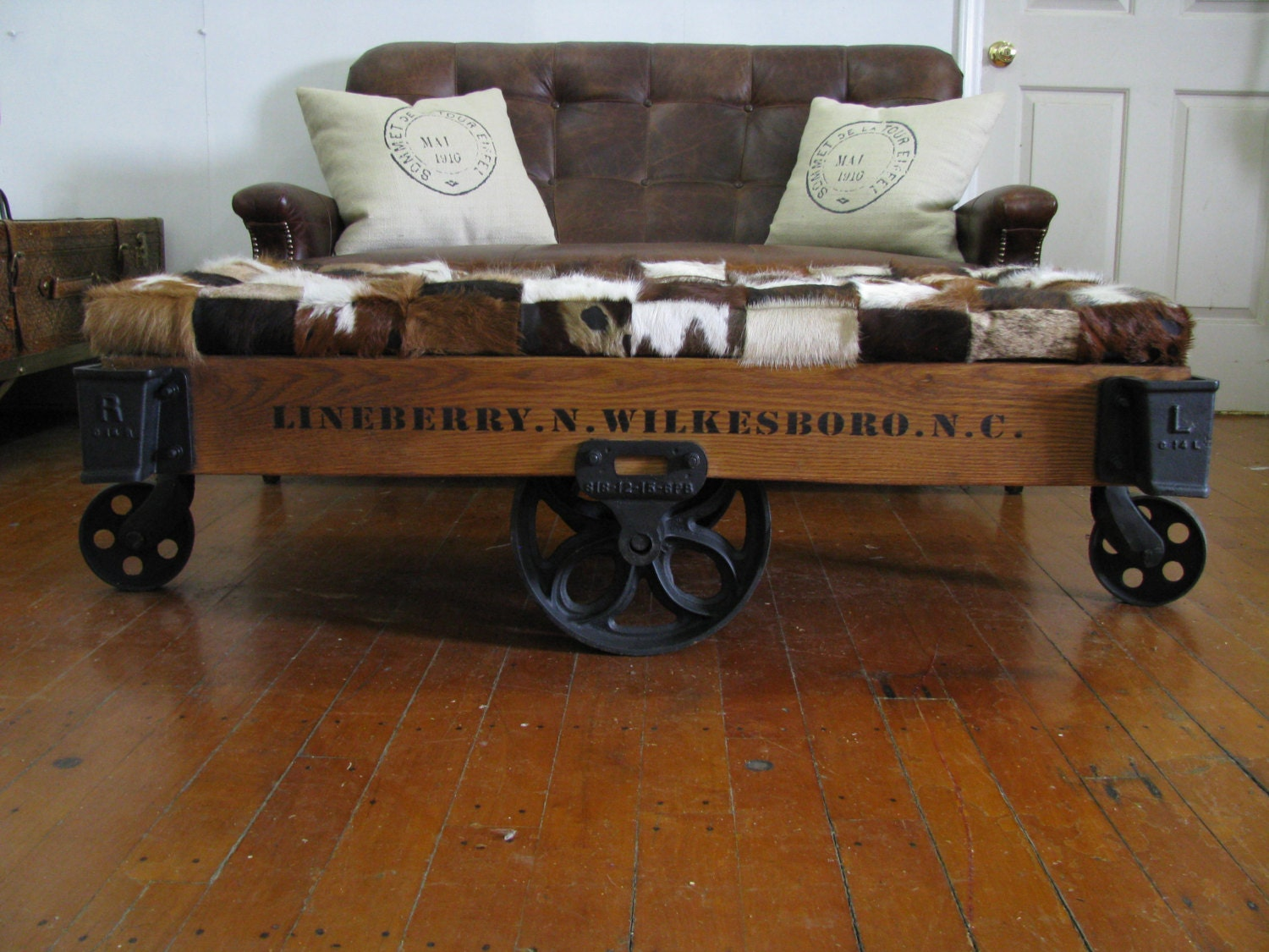 Repurposed Authentic Original Lineberry Industrial/Railroad/Factory Cart/  Bench/ Cocktail Table/ Coffee Table/ Cowhide Leather Ottoman