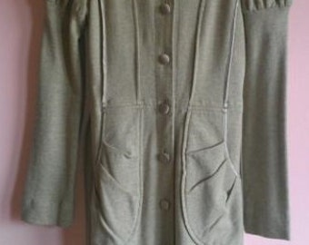 Hoodie Coat Robe Dress, Indie Designer in California. Perfect all year round!  Gray. Seaming, Silk Touches. Big Pockets. Small-Medium. EVC.