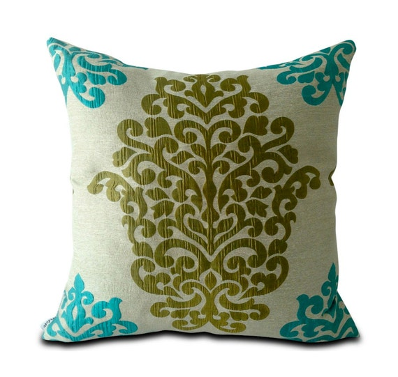 Olive Green And Blue Throw Pillows : Mia & Stitch Damask Turquoise Teal Blue and Olive by miaandstitch