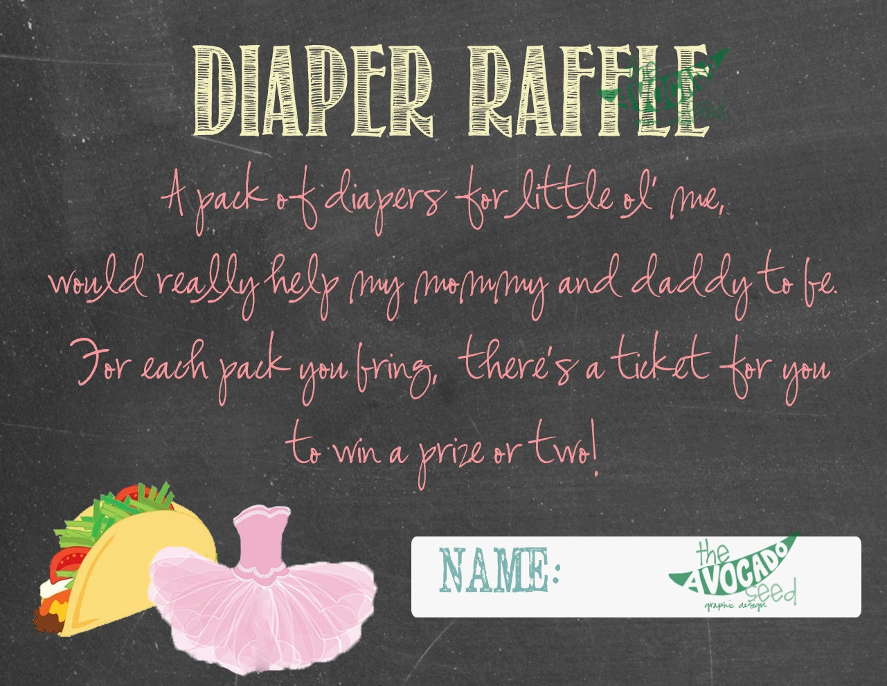 tacos and tutus diaper raffle tickets instant download
