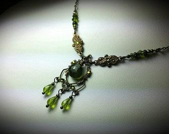 Green Vessonite Victorian Choker, Lime Olive Moss Green Vesuvianite Vintage Bridal Style Necklace, Antique Brass Titanic Temptations Jewelry