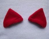 Red Fleece Clip In Kitty Ears