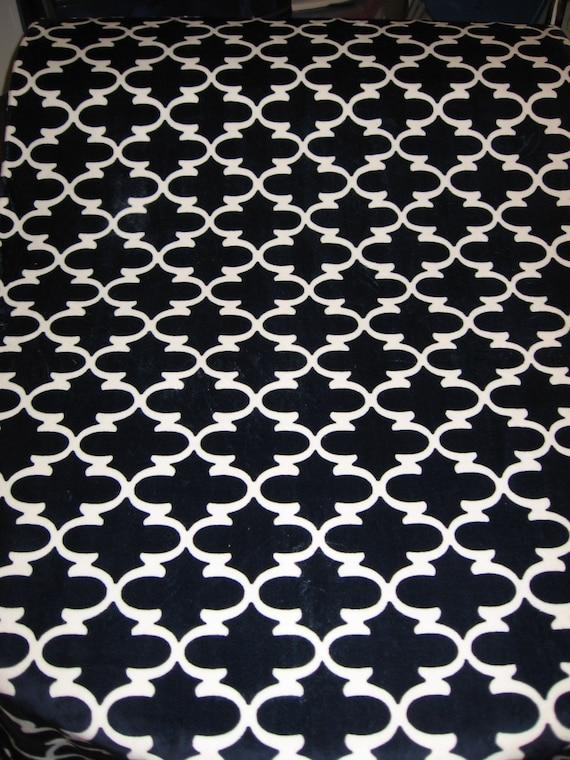 Navy Blue Minky Quatrefoil Fabric Shannon Fabrics White