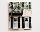 Charleston Photography - Southern Home Architecture Print - Green Black Beige Decor - Window Photo -  Balcony Shutters South Carolina