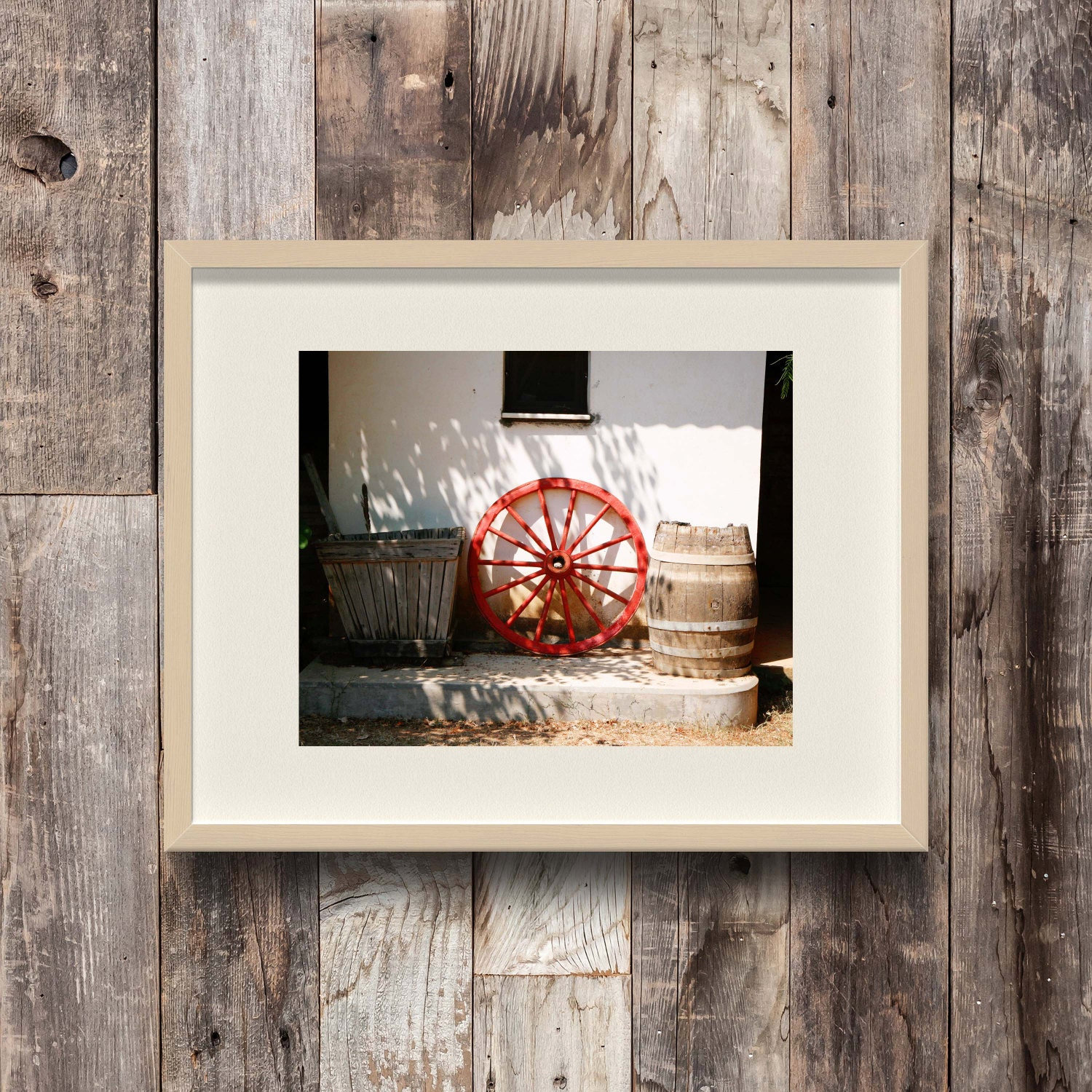 Red Country Wall Decor : Rustic home decor red wagon wheel photograph greece