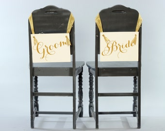 Bride & Groom Chair Signs | Set of 2 Hanging Signs Head Table Chair Banners | Paper Graphic w/ Ribbon | Handmade USA Modern Script Font