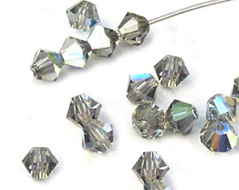 Black Diamond Beads Swarovski Crystal AB Bicones 4mm (24)