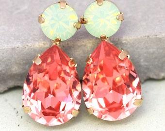 Coral Mint Earrings,Statement Peach Mint Drop Earrings, Peach Crystal Stud Earrings,Teardrop peach Green Mint Opal Bridal Crystal Earrings