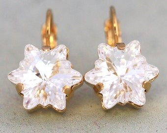 Wahite Clear Swarovski Earrings,Bridal Icy Drop Earrings,Swarovski Clear Crystal Star Earrings,Star Crystal Earrings,Bridal Clear Earrings