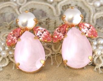 Pink Stud Earrings,Pink Powder Swarovski Earrings,Cotton Candy Crystal Earrings,Bridesmaids Crystal Earrings,Bridesmaids Crystal Studs