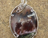 S-52 Plume Agate Wirewrapped Pendant Sterling Silver, Agate Necklace, Agate Pendant, Gemstone Pendant, Gemstone Necklace
