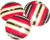 Vintage Buttons 4 celluloid Wafers with Red & Black Stripes